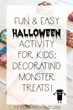Looking for an easy halloween themed activity to do with the kiddos?! How about decorating rice krispie monster treats? :)