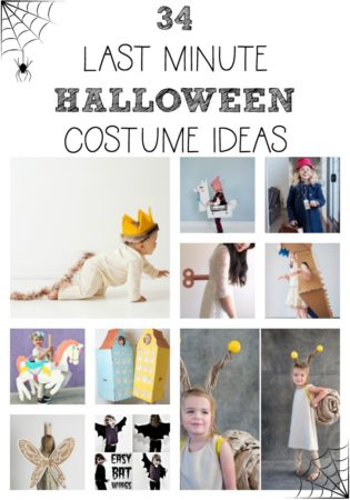 Need an amazing last minute Halloween costume? I've got you covered. Here are 34 ideas for either children or adults that you can pull off in a matter of hours. Plus, snag a bonus pdf of 30 more costume ideas made with cardboard boxes!