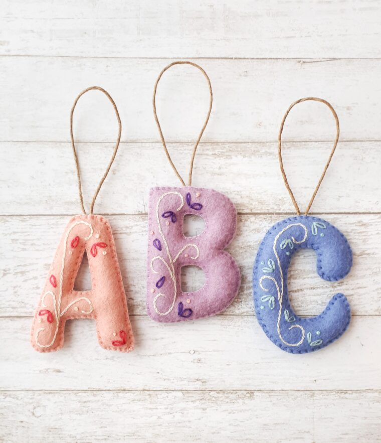 Hand embroidered felt letter ornament teacher gifts