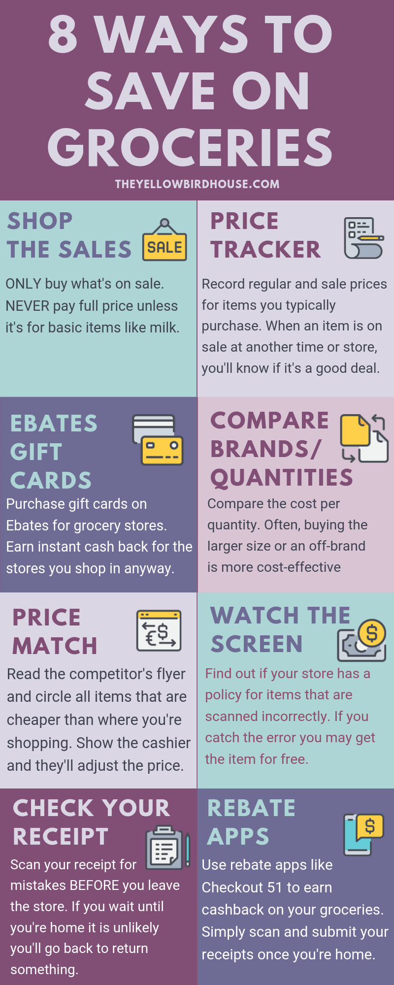 8 easy ways to save money on groceries infographic. Money saving tips for moms. Save money on groceries with these tips. How to price match and shop the sales.