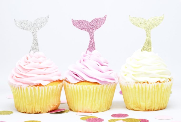 Whale Tail Sparkle Cupcake Toppers