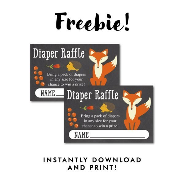 Fox Diaper Raffle Tickets