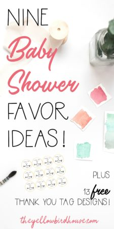 It can be tough to come up with clever and inexpensive party favors. These DIY baby shower favors are just the ticket! Includes 13 different free printable thank you tags to make the job even easier! Baby shower favors for guests that they'll actually want to keep and use!