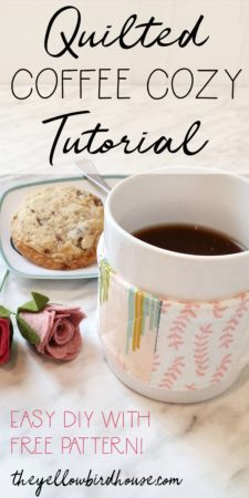 DIY quilted fabric coffee cup cozy. This is a great project to sew up in a hour and give as a last minute gift! A cute coffee cozy tutorial using fabric scraps. Free pattern and instructions included for this easy DIY sewing project.