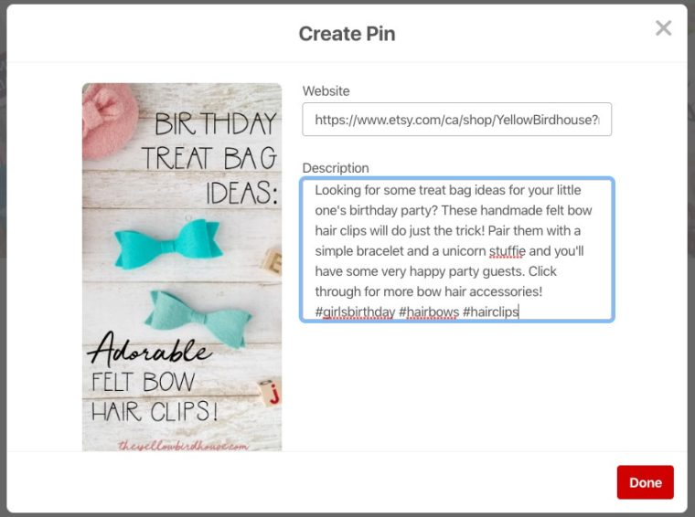 Adding a custom pin to Pinterest using hashtags and a great description