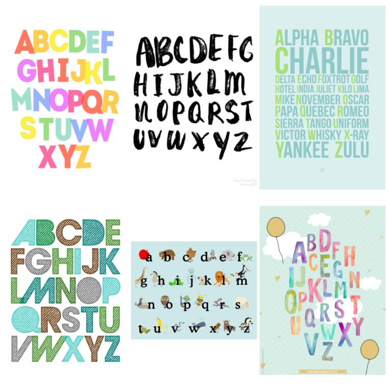 Free printable alphabet posters. Grab some sweet alphabet printables for your nursery or kids' room!