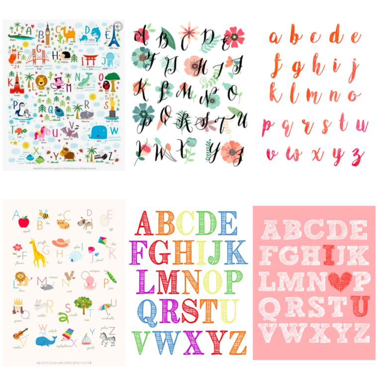 Fun and free alphabet printables for your nursery! 19 Free ABC posters for you to print!