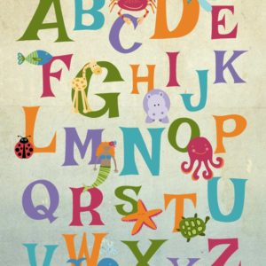 Free Printable Alphabet Wall Art. Free ABC poster to print and hang in your kiddo's room! Rainbow colors with animals adorn this fun printable alphabet wall art. Free printable ABC nursery prints.