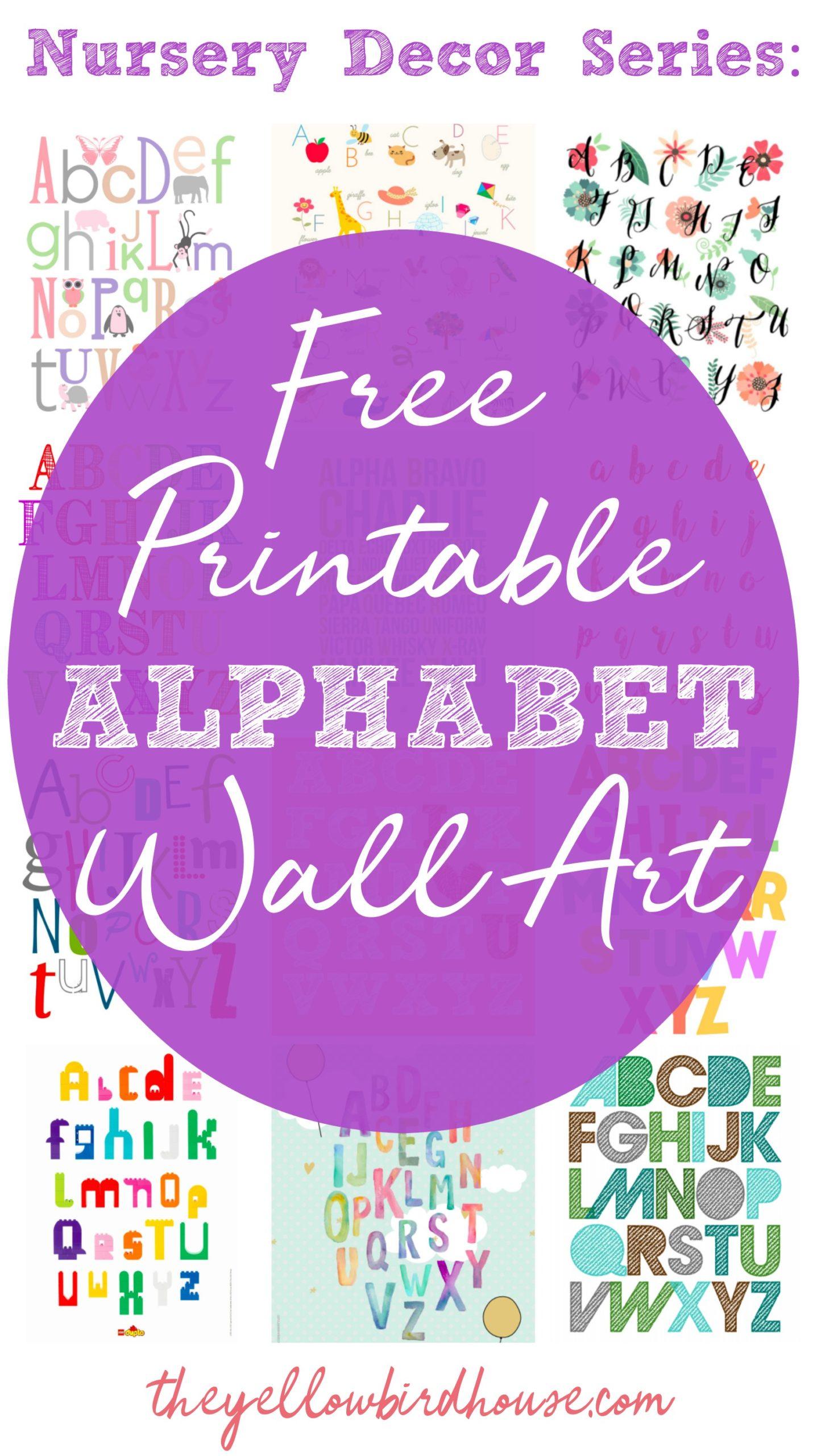 Nursery Decor Series 19 Free Printable Alphabet Wall Art Pieces