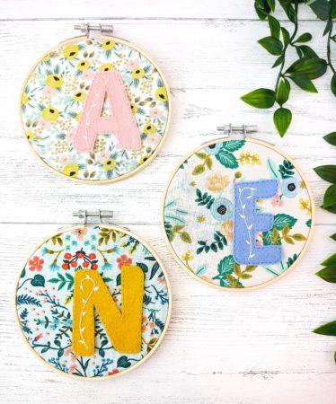 custom made embroidered initial hoop nursery art