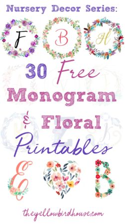 Are you looking for some free printables to decorate your little one's nursery? This first post in the Nursery Decor Series has 32 free monogram & floral printables for you to download! Nautical initials and alphabet wreaths in various colour palettes and styles, all totally free!
