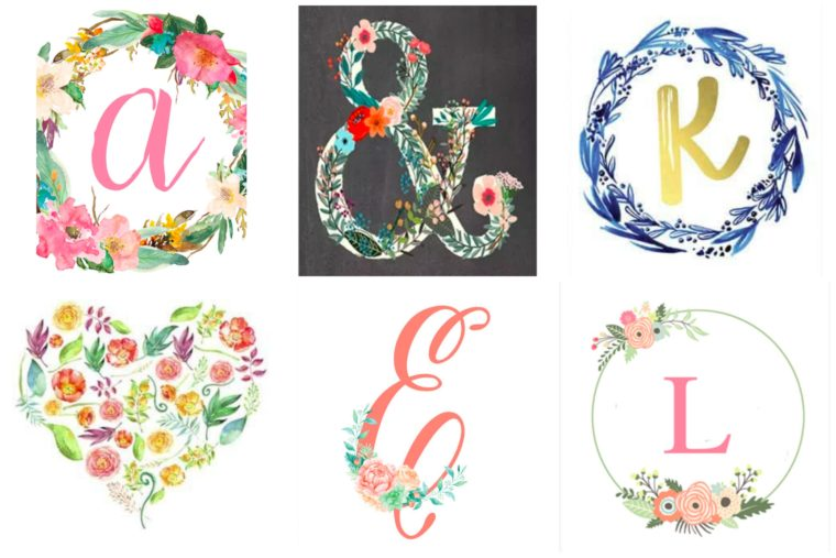 32 Free Printables for a nursery or kid's room. Monograms and Floral wall art for kids.