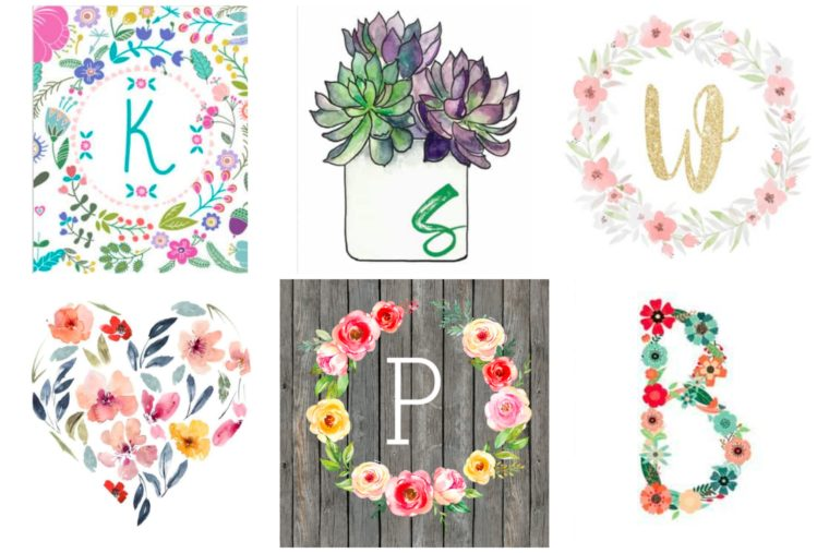 Free Monogram and Initial wall art for a nursery or kid's room. Free printable art for kids. Floral Alphabets.