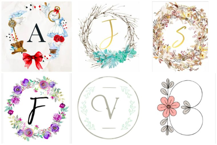 32 Free Printables, Monograms, Wreaths and Letters. Free art for kids rooms.