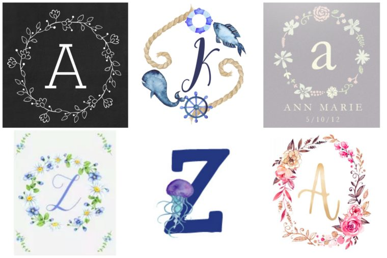 Monogram & Floral free printables for children's room. Free wall art for kids. Nautical and floral monogram printables.
