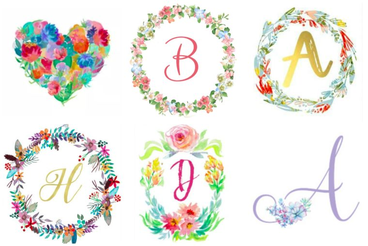 30 Free floral wreath printables. Initial wall art for kids. Free printables for nursery. Floral monogram art.