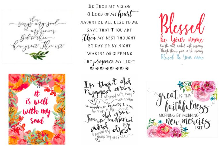 Beautiful Printable hymn verses for your nursery or home