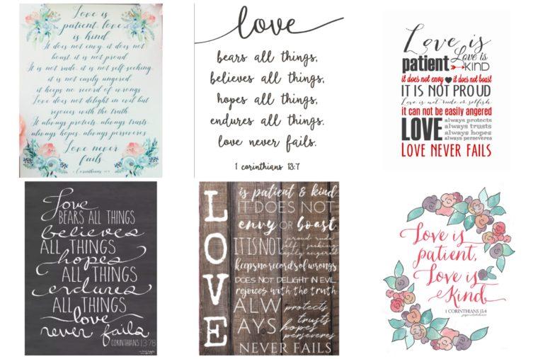 Free scripture printables. Love is patient, love is kind artwork.