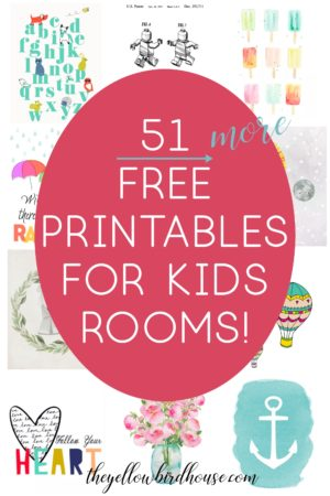 51 free printables for a nursery or kid's room! Adorable nursery decor on a budget, a zero-dollar budget that is! These super cute free downloads are a quick and easy way to add some colorful & kid-appropriate decor to your home.