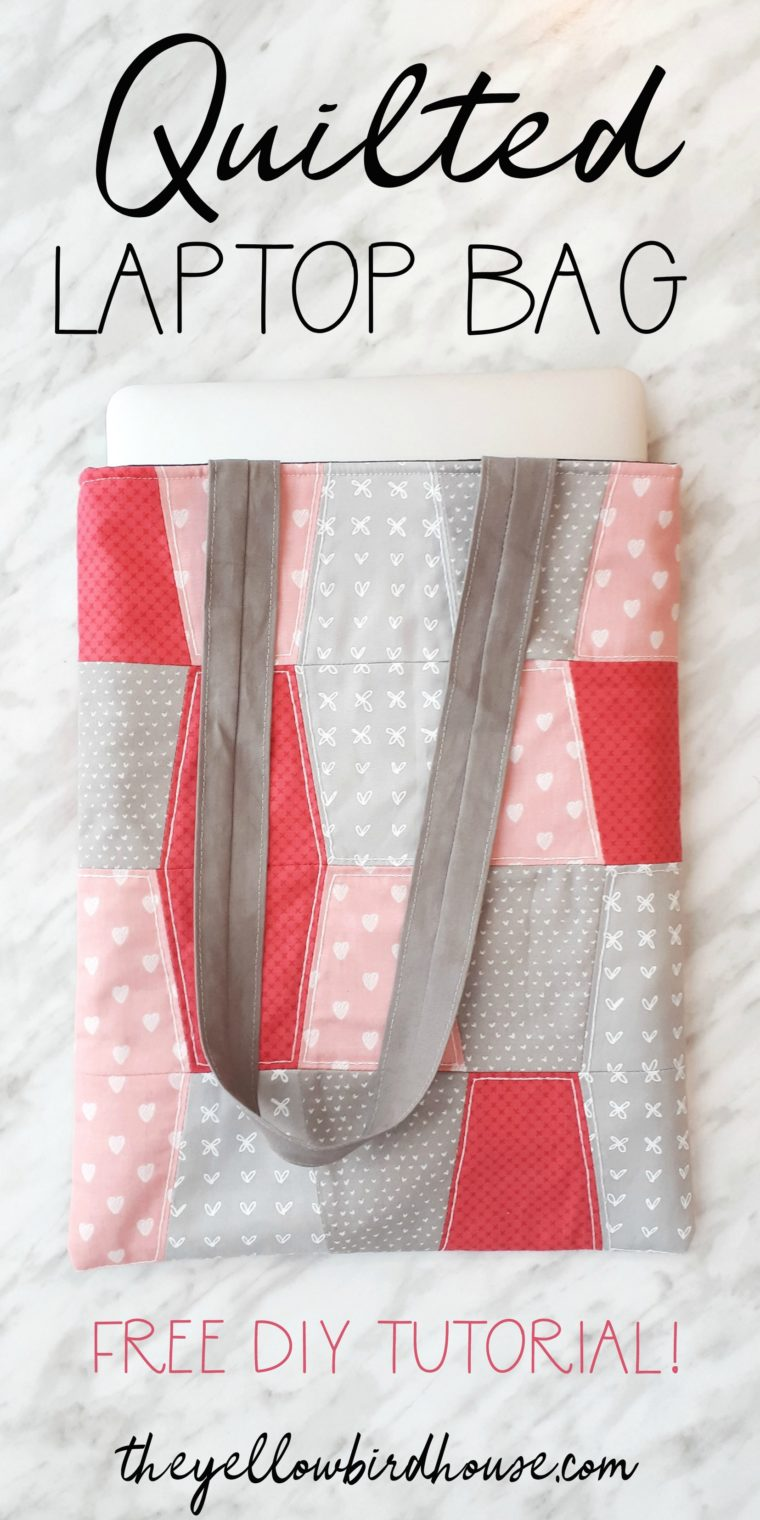 Quilted laptop bag tutorial. This is a fun diy sewing project to keep your laptop safe and pretty when you're out and about! A free tutorial for a quilted laptop sleeve.
