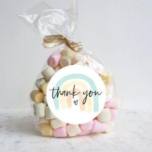 Cute rainbow thank you sticker for small businesses