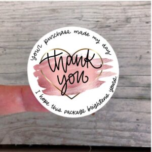 Rose and Gold Thank You stickers for Etsy orders