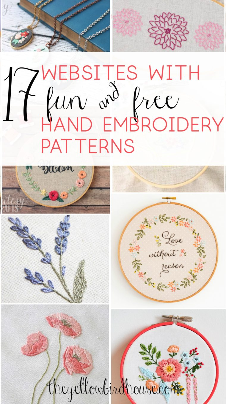 A gorgeous collection of free hand embroidery patterns! Check out this round up of 17 websites that are full of beautiful and free pattern downloads for hand embroidery and cross stitch. Stunning floral embroidery patterns and adorably cute cross stitch.