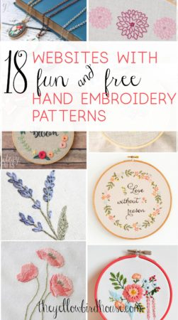 A gorgeous collection of free hand embroidery patterns! Check out this round up of 18 websites that are full of beautiful and free pattern downloads for hand embroidery and cross stitch. Stunning floral embroidery patterns and adorably cute cross stitch.