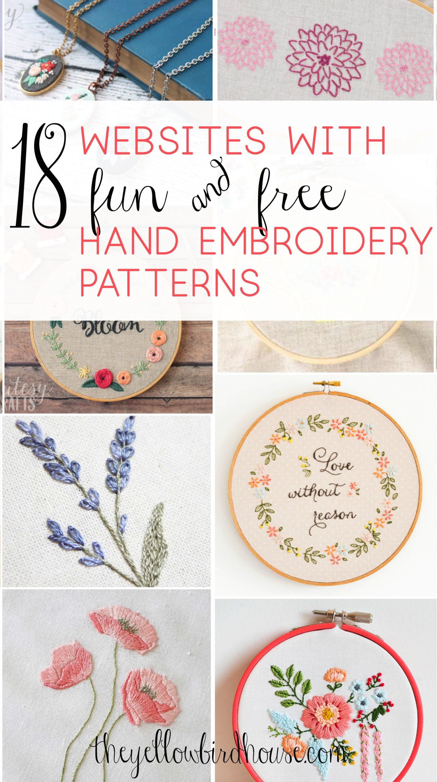 20 Sites with Fun and Free Hand Embroidery Patterns