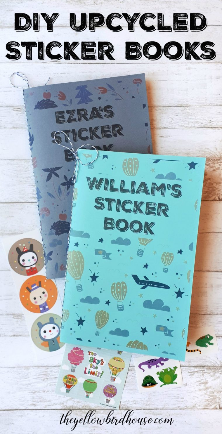How to make a DIY sticker book for kids out of upcycled paper. A simple tutorial for both reducing waste and creating a fun project for the kiddos!
