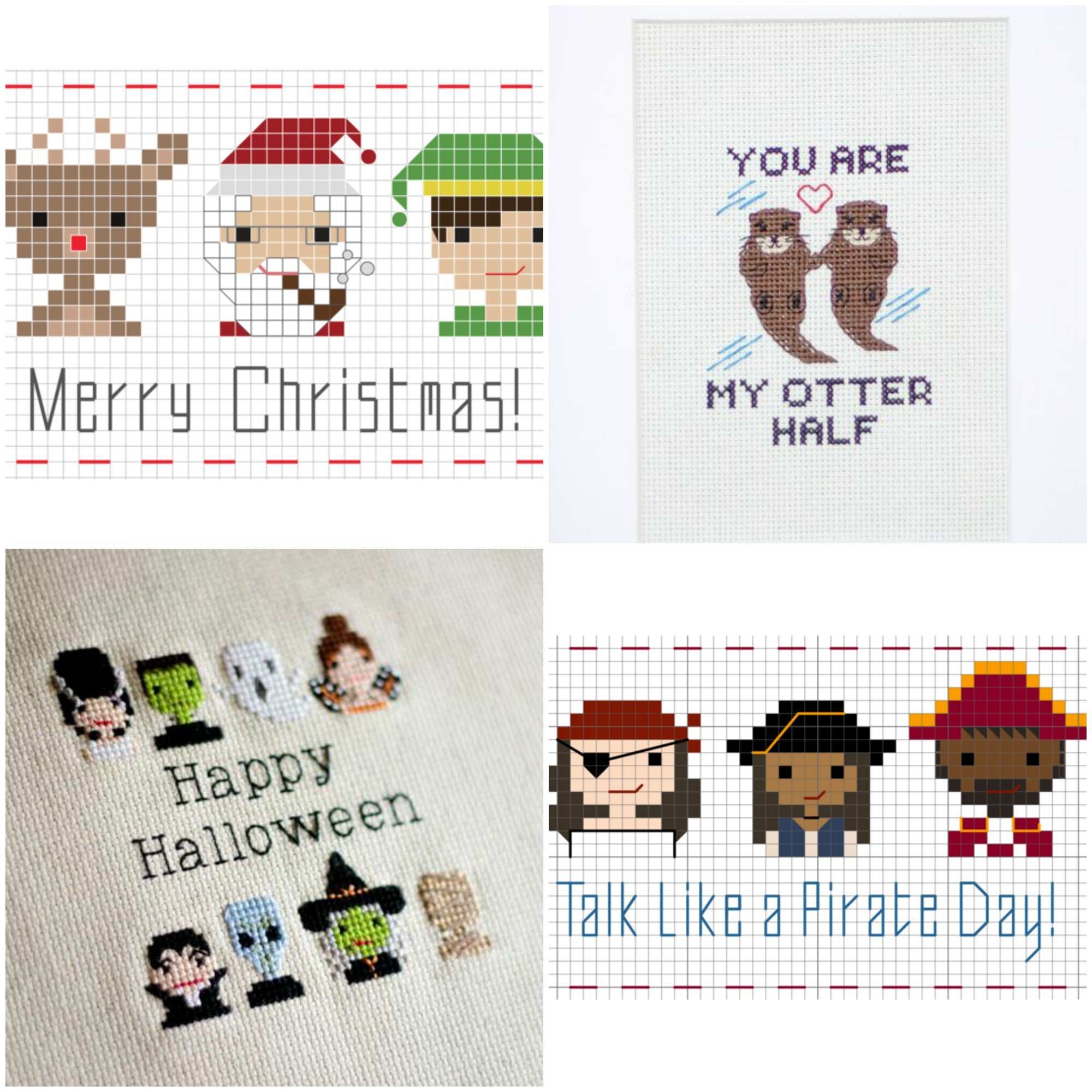 Free cross stitch patterns for Christmas, Halloween and other holidays!