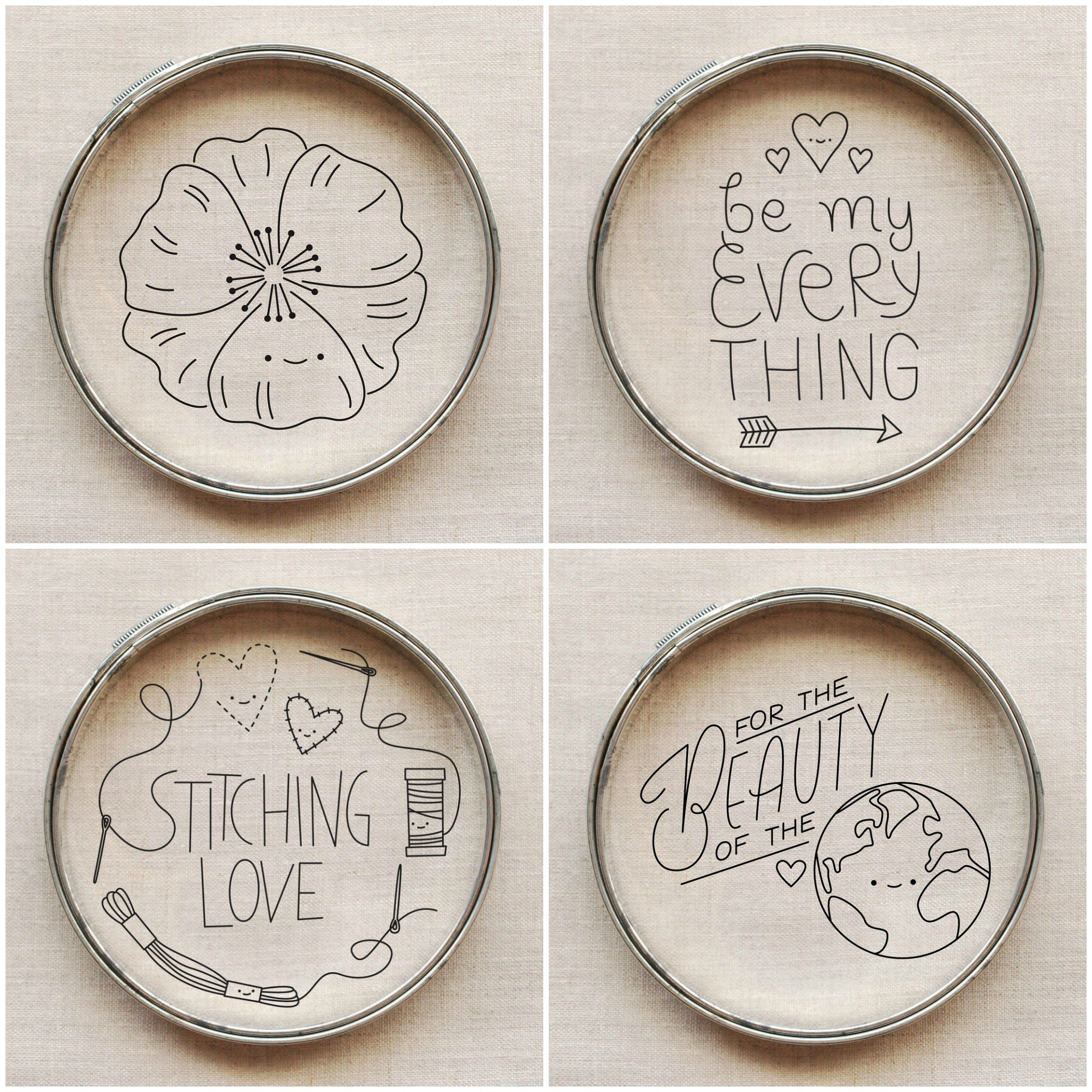 Super cute free embroidery patterns from Wild Olive