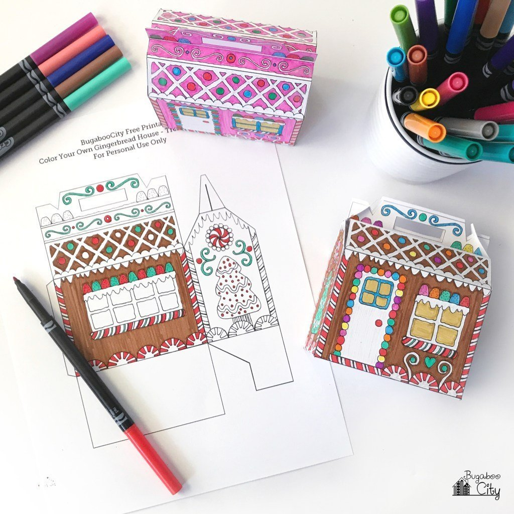 Printable colouring page for DIY gingerbread house treat boxes