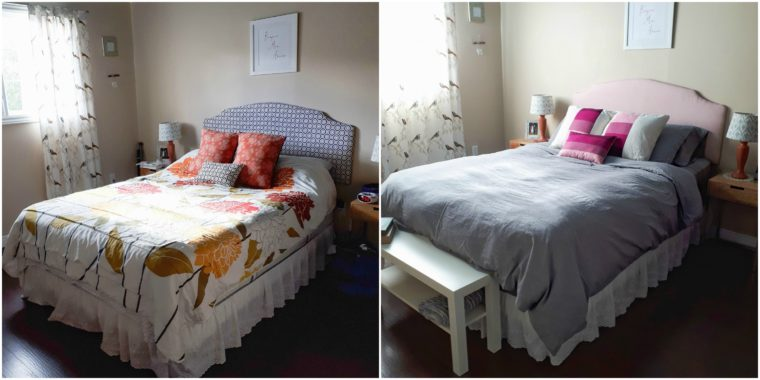 Before and After master bedroom makeover on a budget