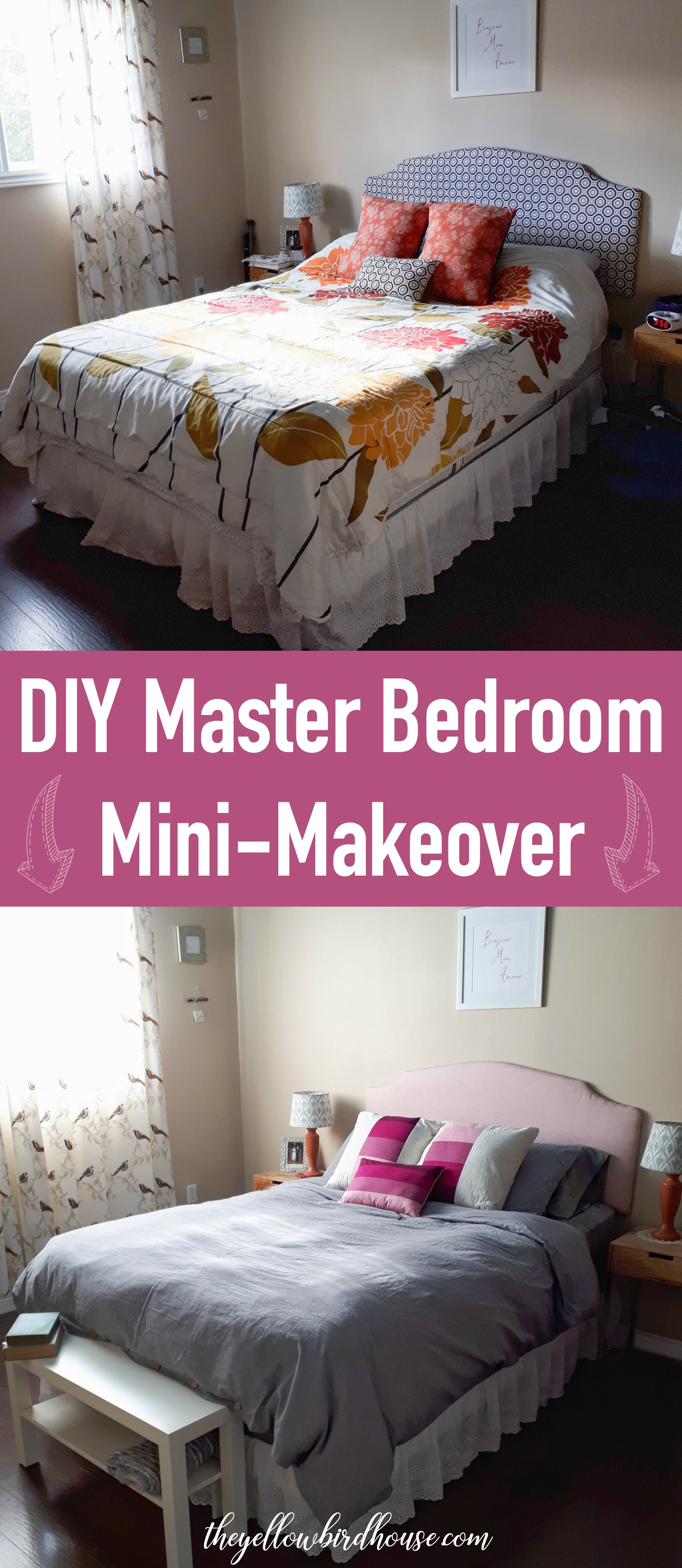 DIY Bedroom Update on a Budget! My master bedroom was in desperate need of a re-fresh. But I'm a girl on a budget with a heart for DIY! So I came up with economical ways to spruce things up and create a super cozy refuge.