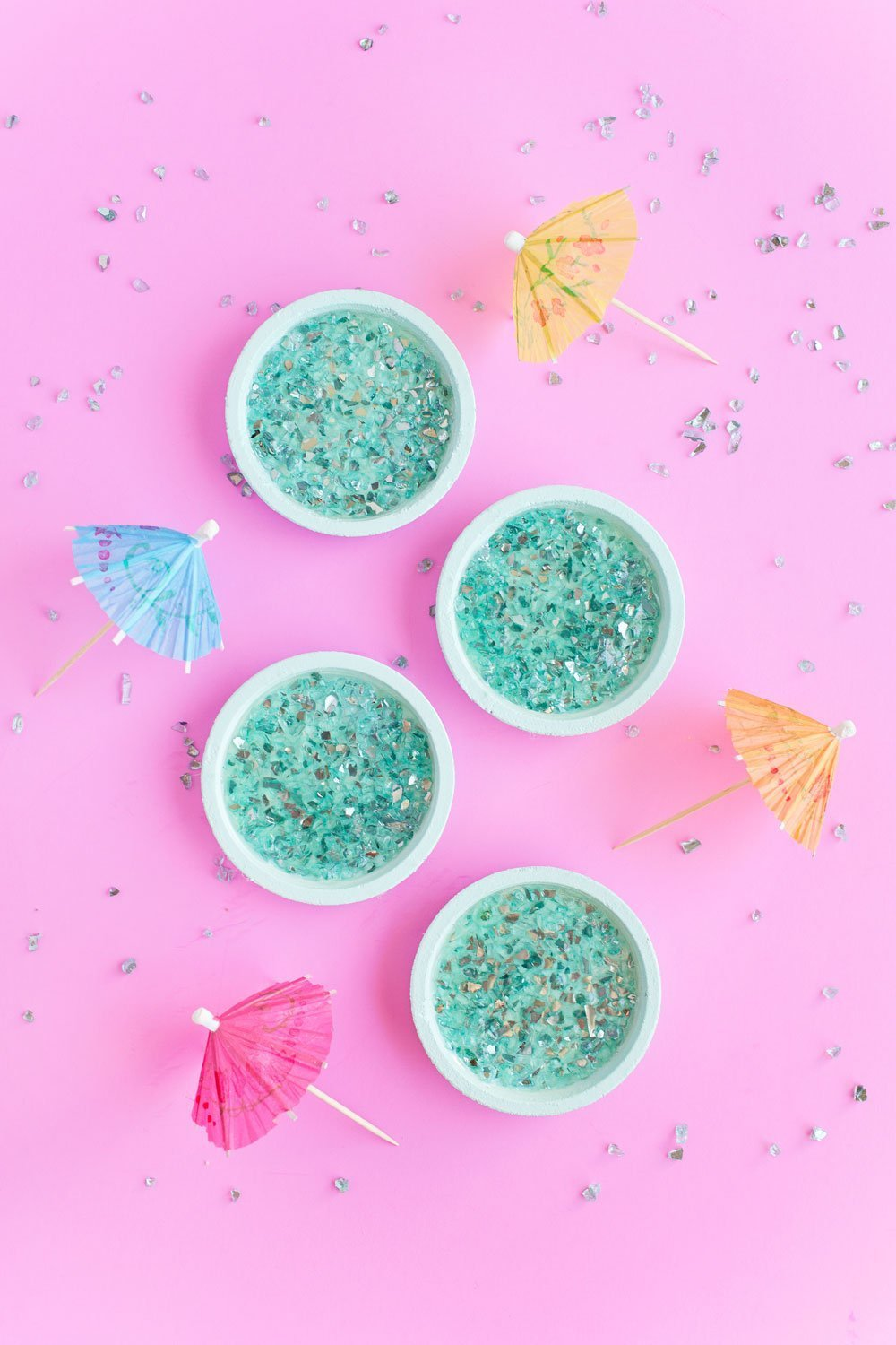 Super fun and pretty DIY crushed glass coasters