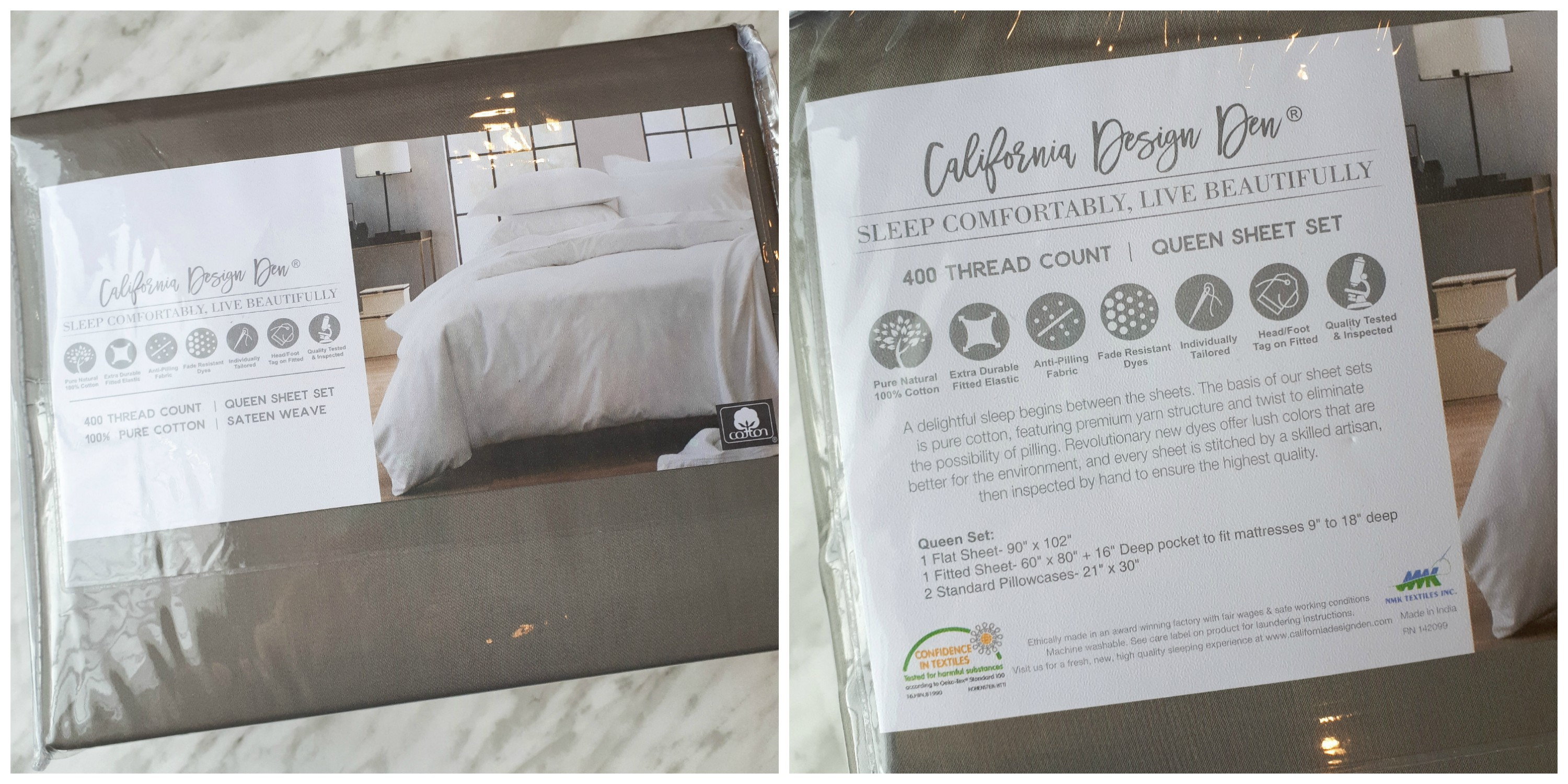 These California Design Den 100% cotton sheets are the real deal! They are so comfy and have a great weight to them. The sateen finish is delightful!