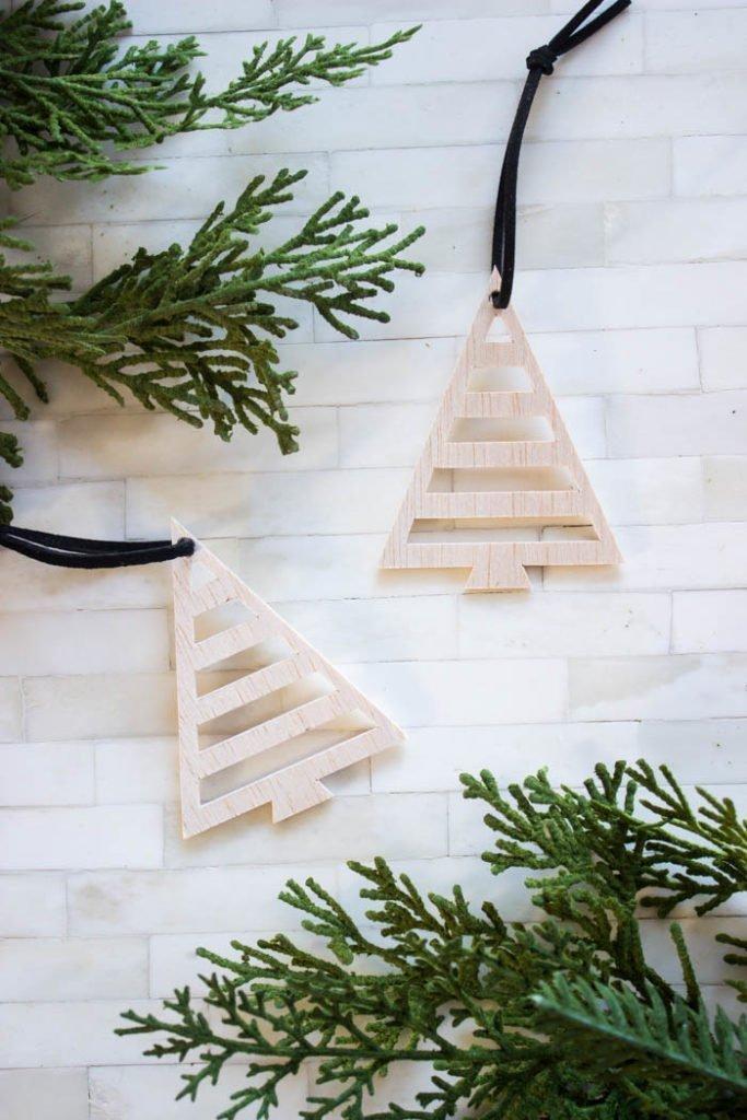 DIY wood ornaments using a cricut cutter