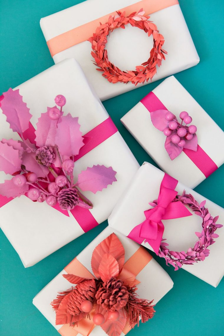 Pretty monochromatic gift toppers diy