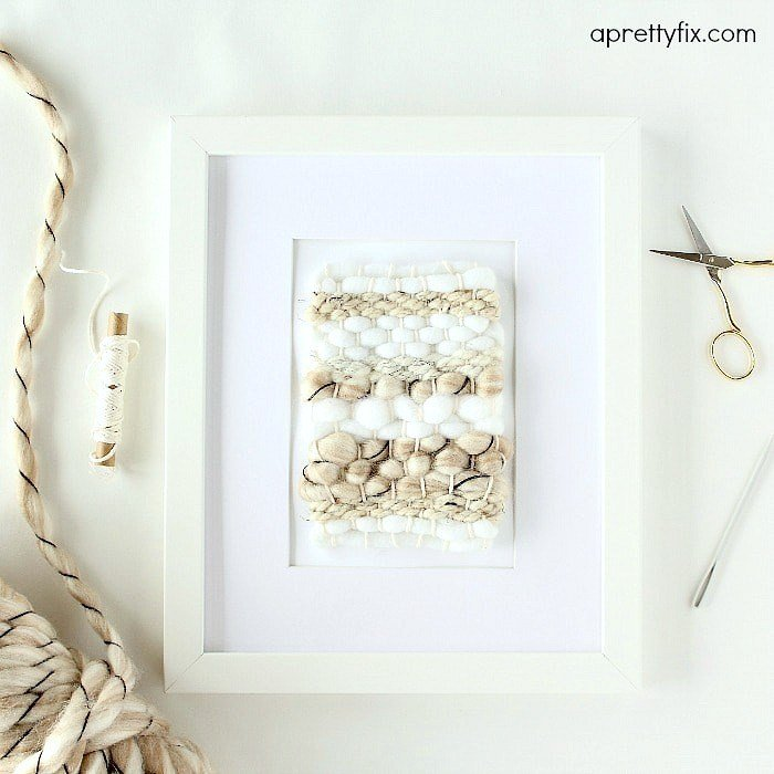 Pretty framed mini weaving DIY