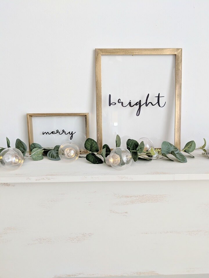 DIY Christmas gift ideas, floating framed text