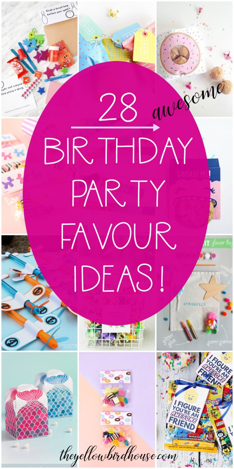 28 Birthday party favour ideas for kids. Lots of free printables for birthday goodie bags. Awesome non-candy favor ideas for kid's birthday parties. Reach 'super-mom' status with these super-creative treat bag ideas for a kid's party.