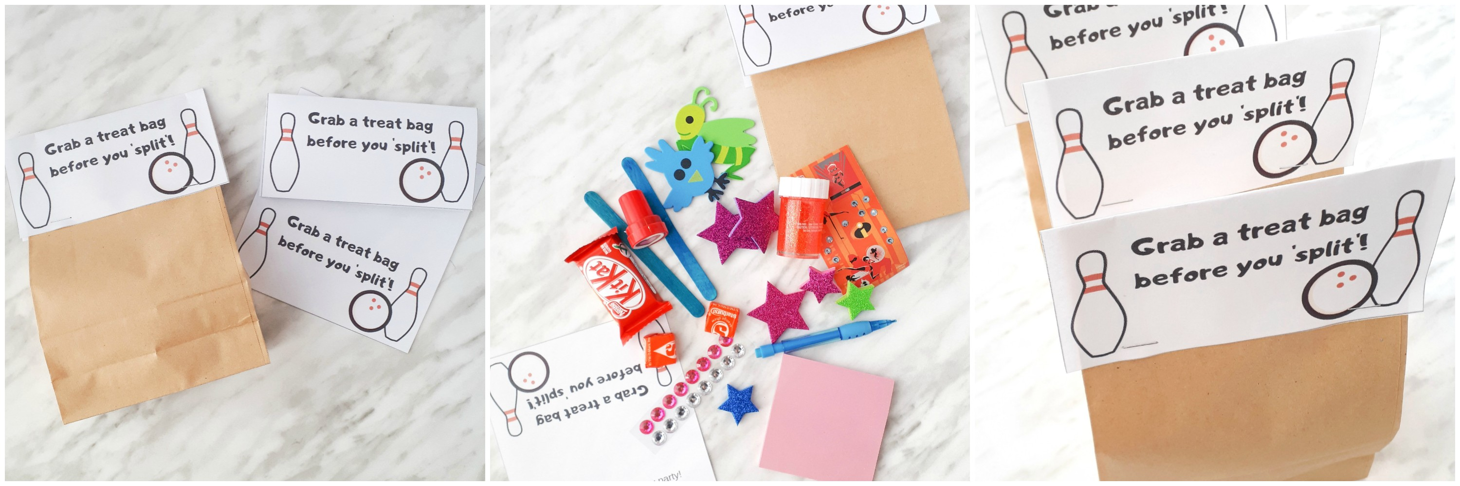 DIY Bowling Party Favour Treat Bag Printables