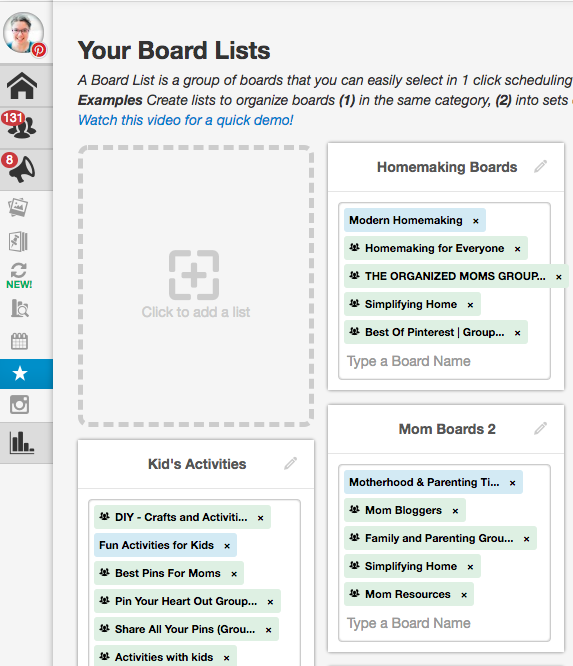 Use Tailwind to create board lists and pin your content in seconds