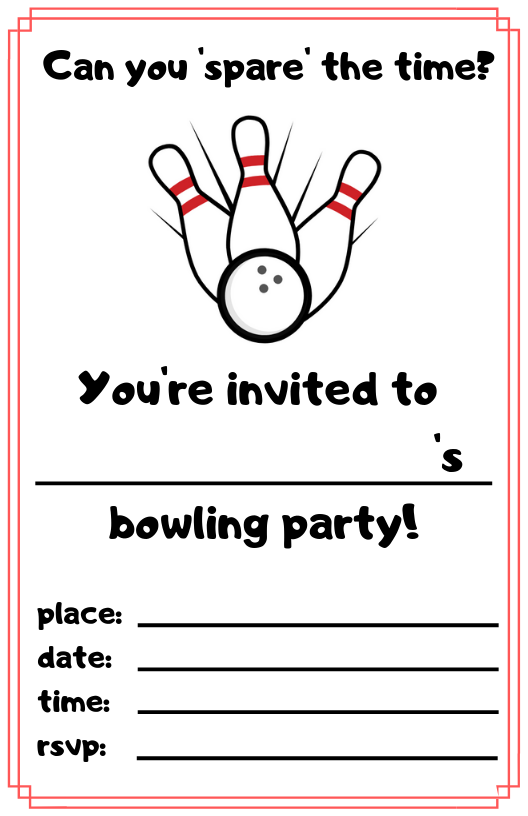 Free Bowling Party Invitations