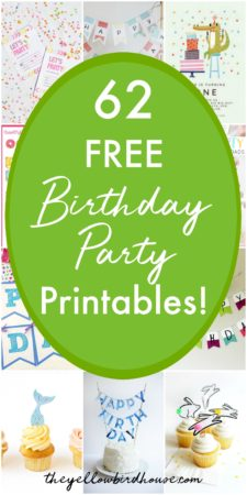 62 FREE birthday party printables for kid's birthdays. Cute and clever birthday party ideas. Free birthday party invitations. Free happy birthday banners. Printable cupcake toppers and photo props. Loads of free party pack printables. Plan the perfect kid's party with 62 of the best free birthday printables and ideas.