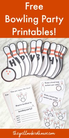 Bowling party ideas. Free bowling party printables for a fun kid's birthday party! Download these free bowling party invitations, cupcake toppers, treat bag toppers and free happy birthday bowling banner! Throw a fun bowling party for your kiddo using these free printables and party ideas!
