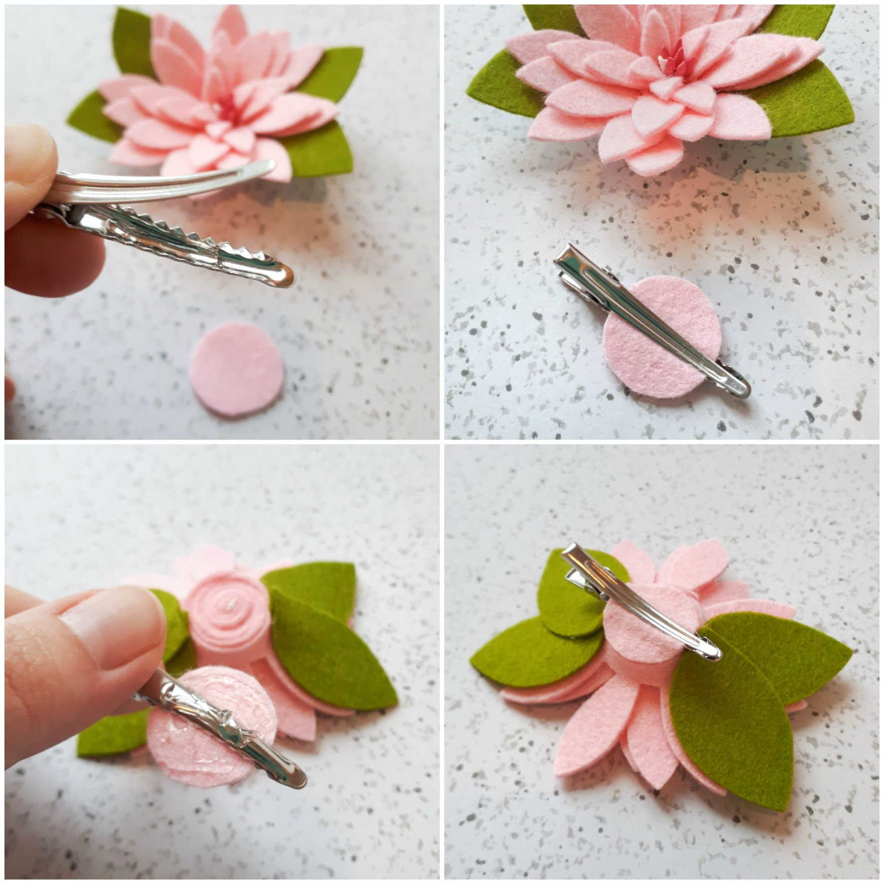 How to attach a hair clip to a felt flower
