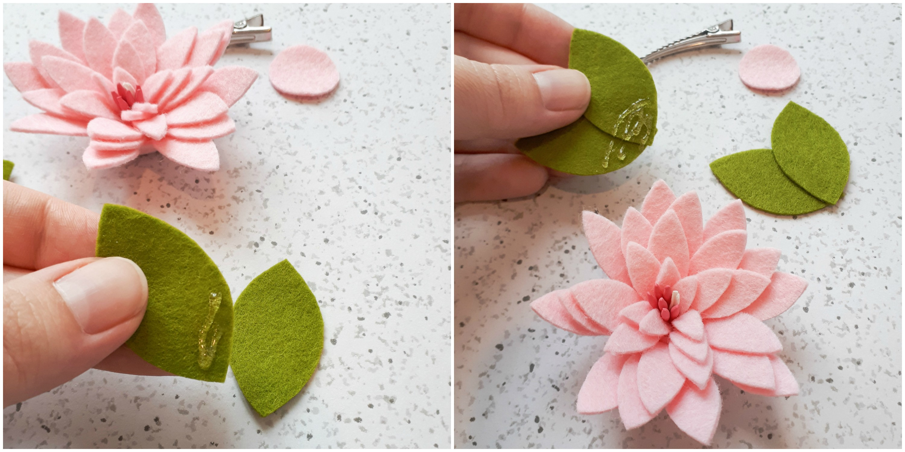 Adding leaves to a DIY felt flower hair clip