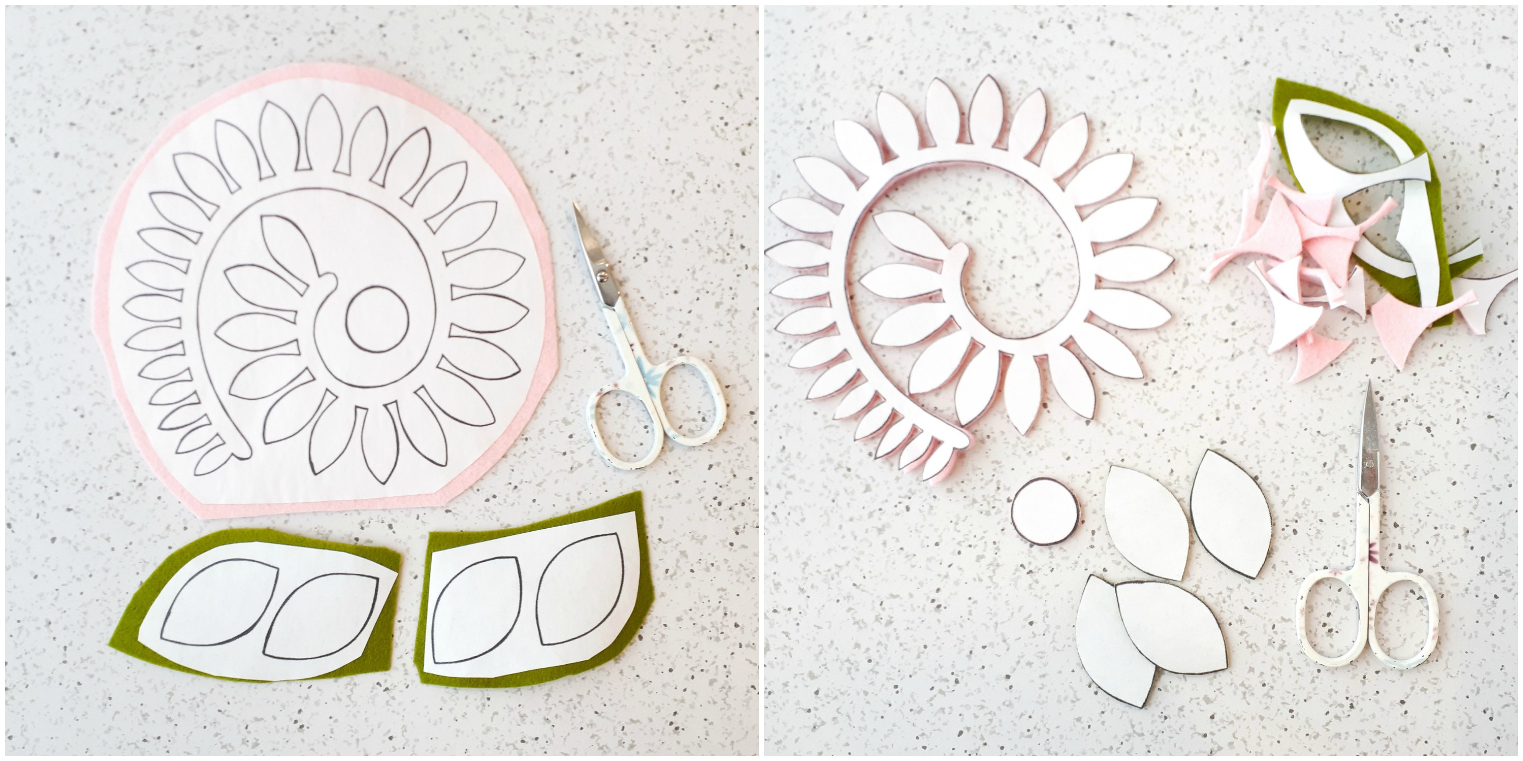 How to cut out a DIY felt flower using freezer paper